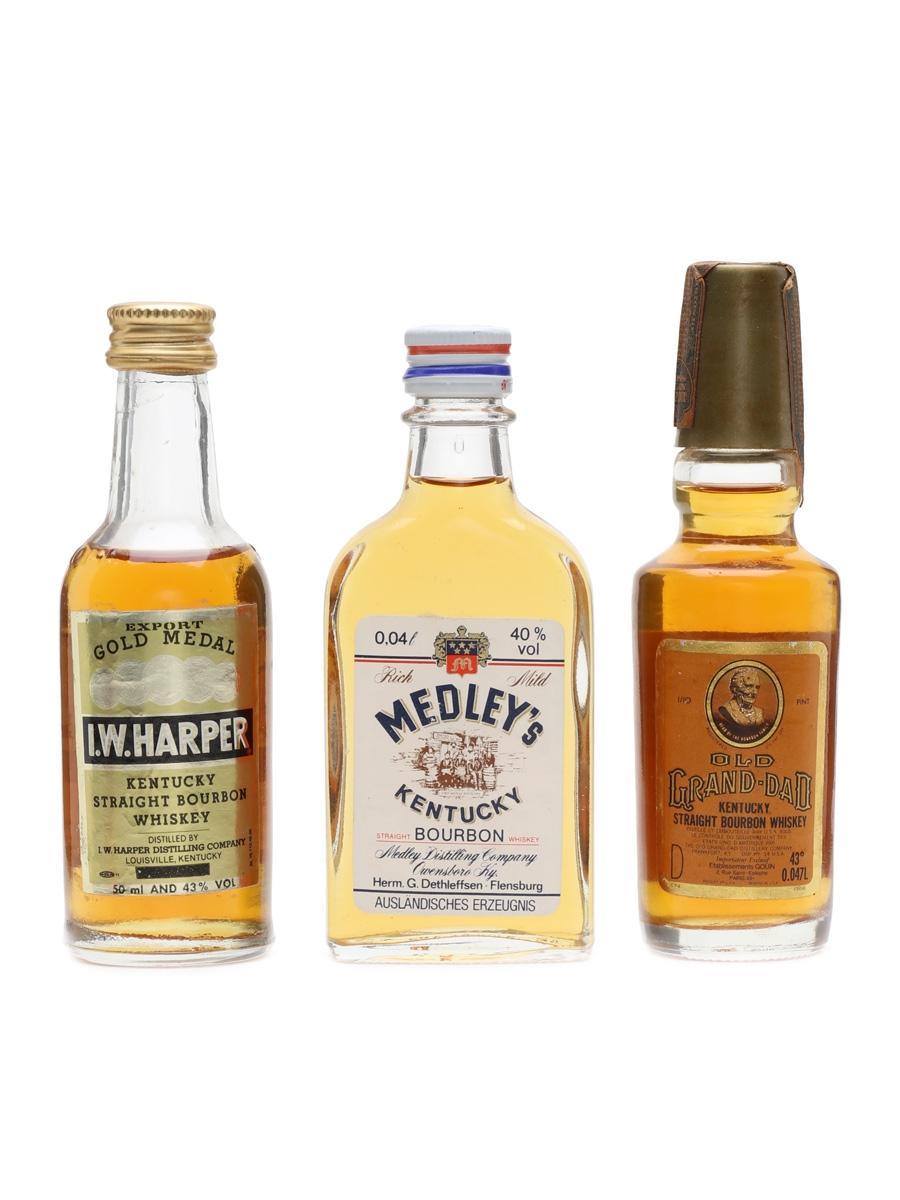I W Harper, Medley's, Old Grand Dad  3 x 4cl-5cl
