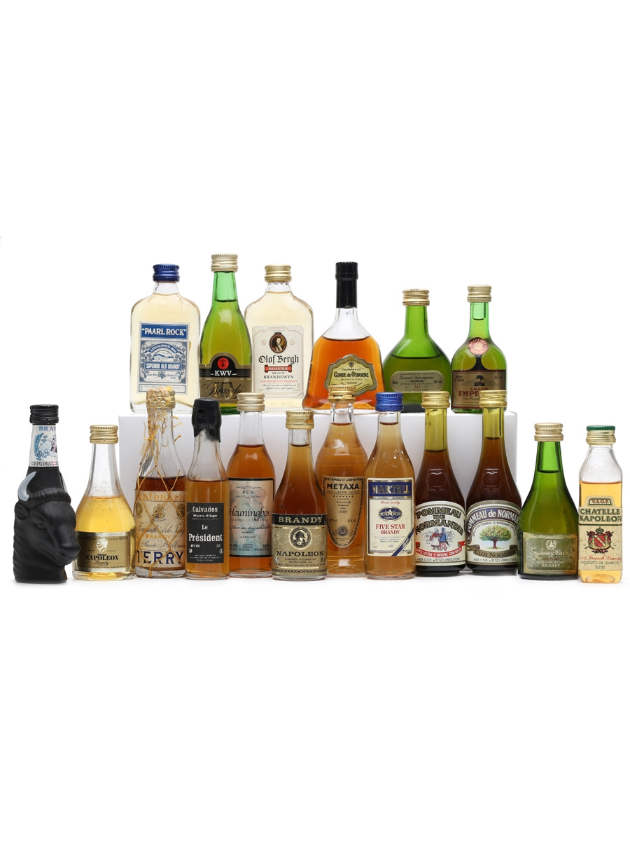 18 x Assorted Brandy & Calvados Miniatures