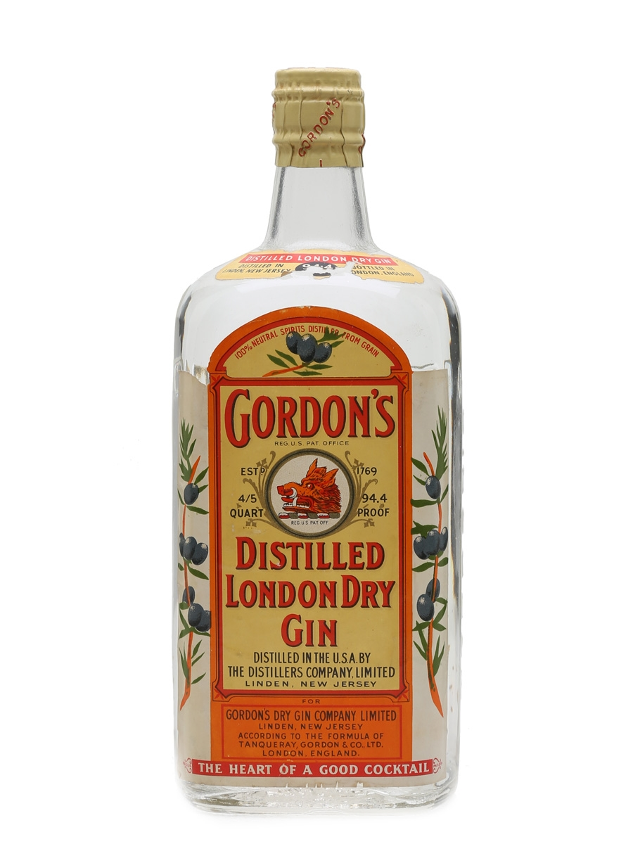 Gordon's Dry Gin Spring Cap Bottled 1950s - Linden, New Jersey 75.7cl / 47.2%