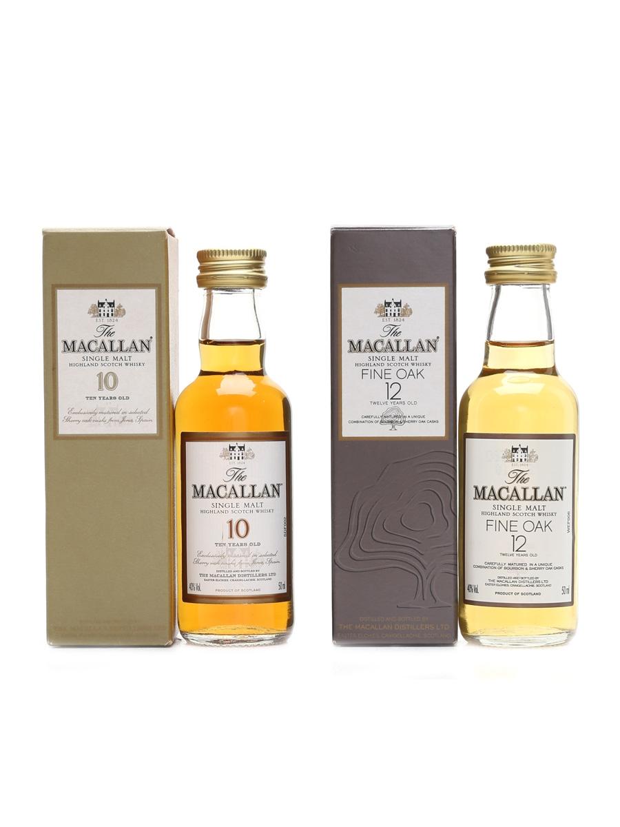Macallan 10 Year Old & 12 Year Old Fine Oak  2 x 5cl / 40%