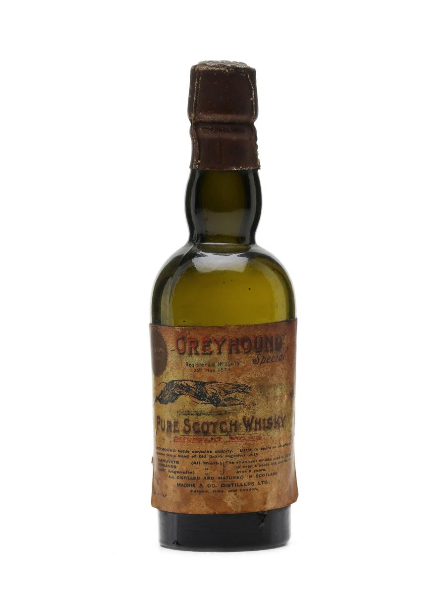 Greyhound Pure Scotch whisky Mackie & Co. Distillers Miniature