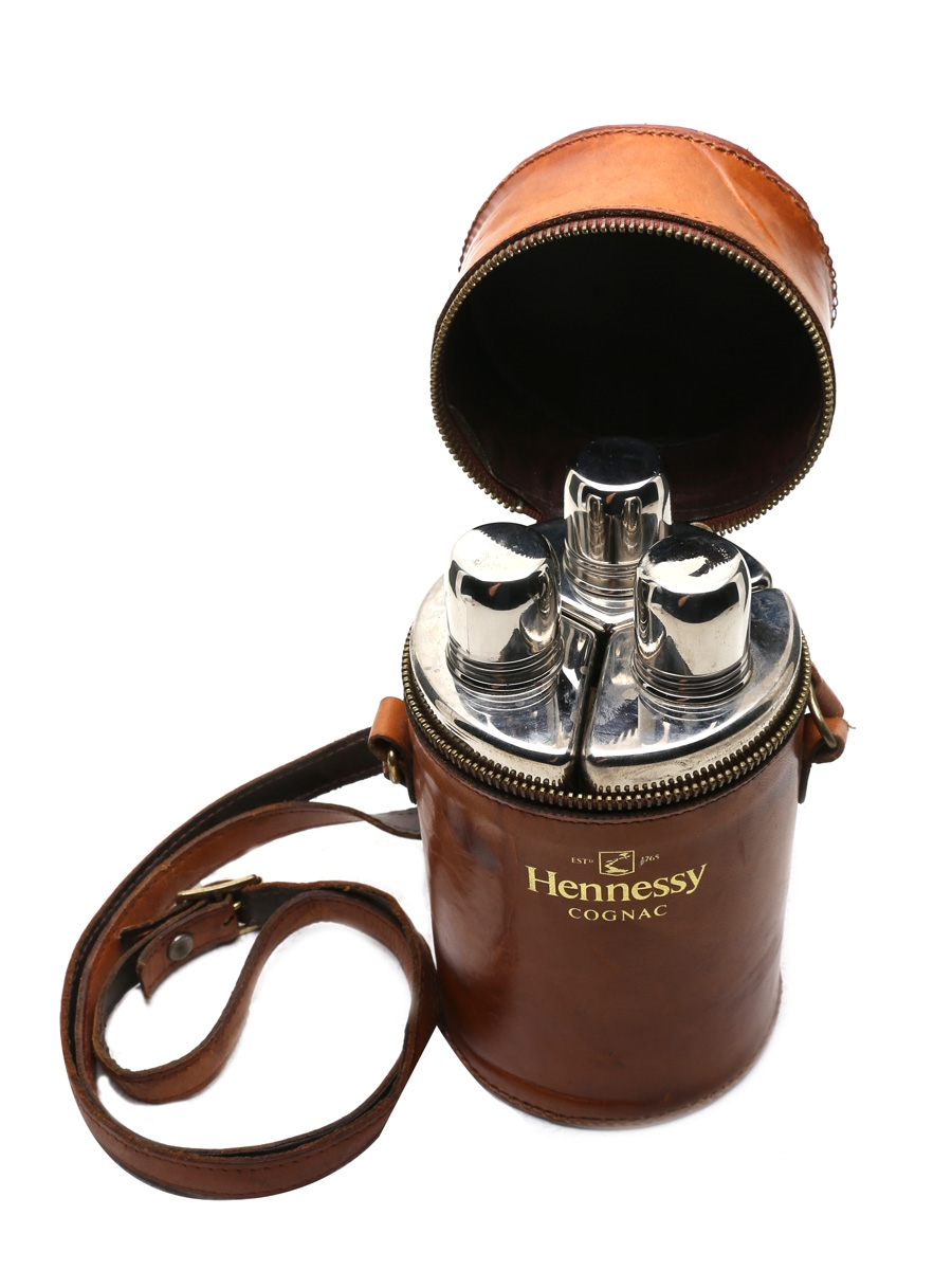 Hennessy Cognac Triple Flask Hunting Set Leather Carry Case