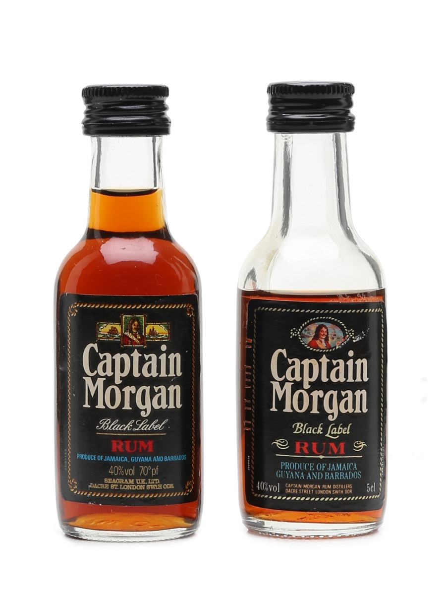 Captain Morgan Black Label Bottled 1970s & 1980s 2 x 5cl / 40%