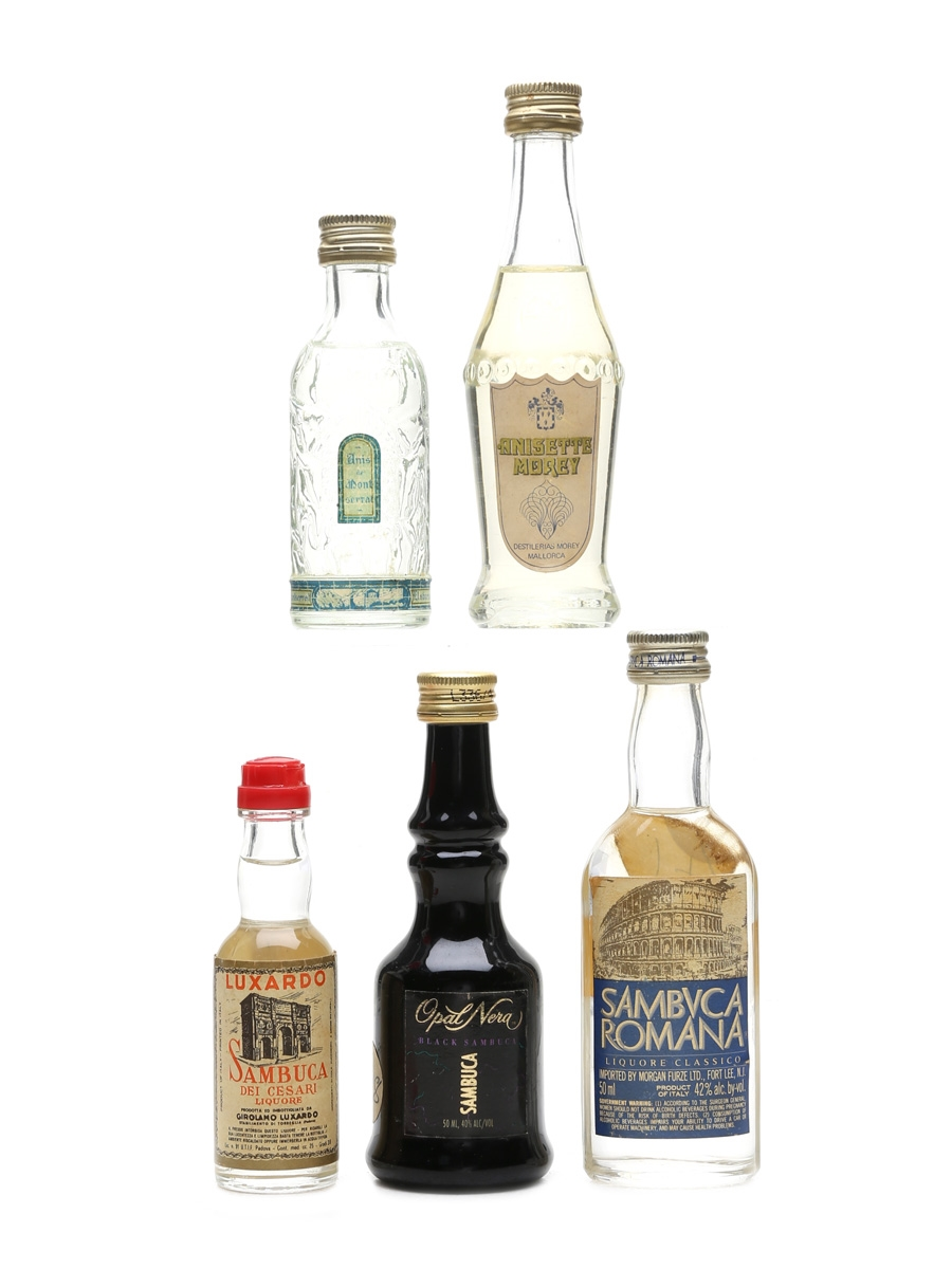 Assorted Sambuca & Anise Liqueurs  5 x 2.5cl-5cl
