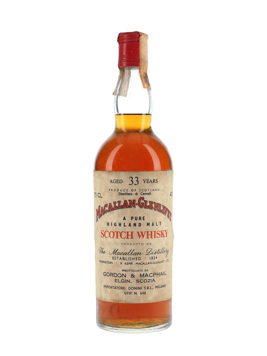 Macallan Glenlivet 33 Year Old Bottled 1970s - Pinerolo 75cl / 43%