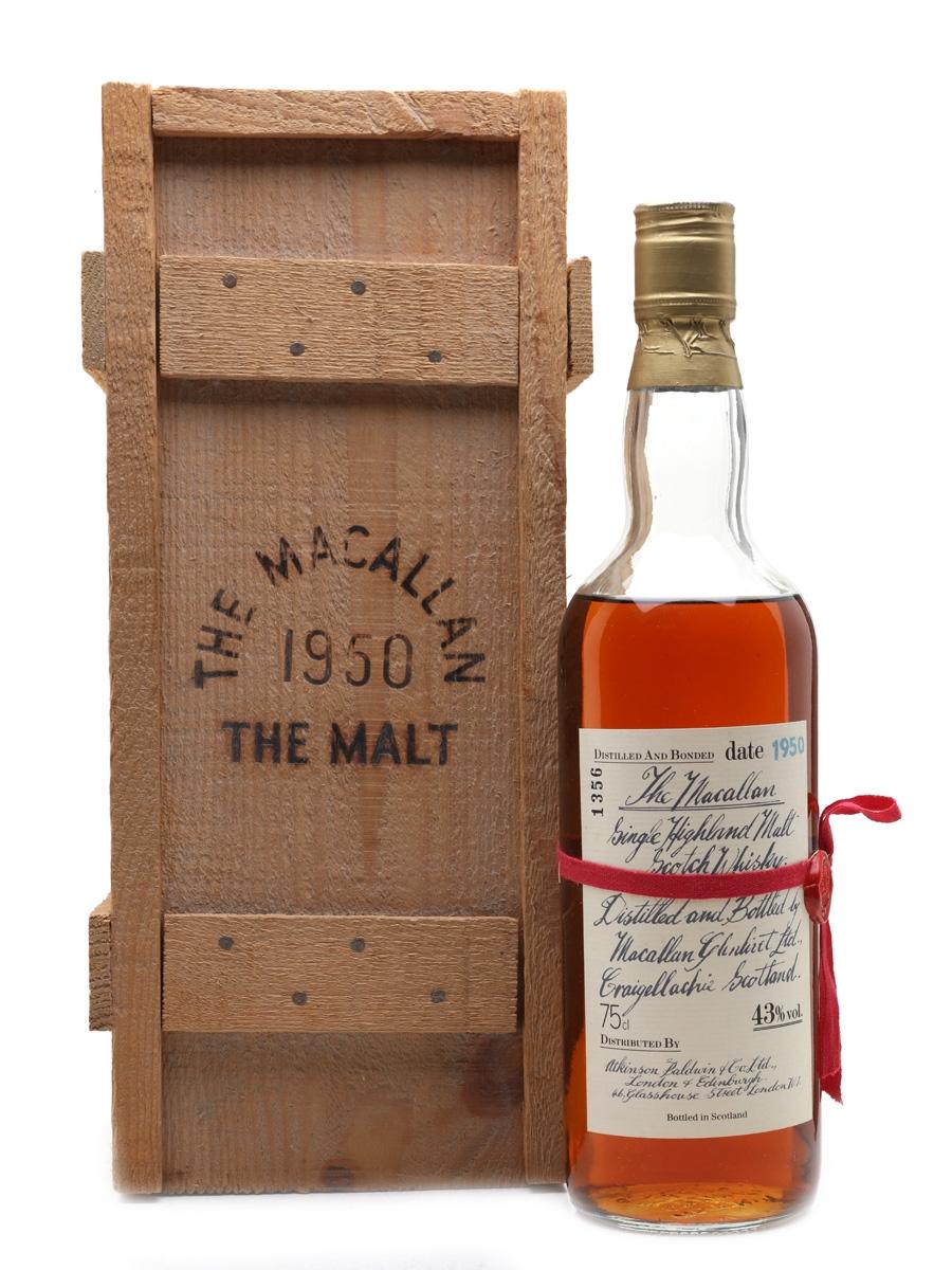Macallan 1950 Handwritten Label Bottled 1980s - Atkinson Baldwin & Co. Ltd. 75cl / 43%