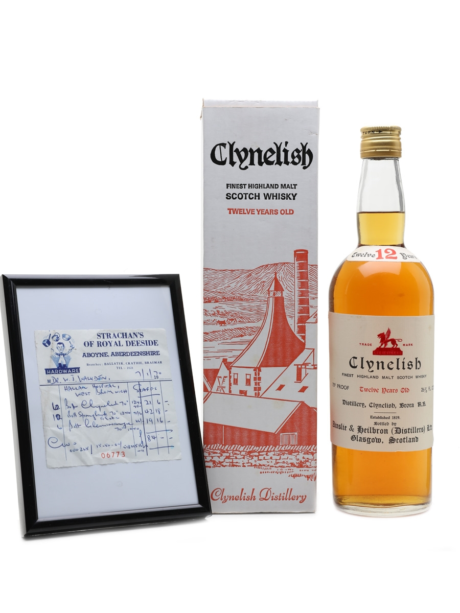 Clynelish 12 Year Old Bottled 1960s - Includes Purchase Receipt 75.7cl / 40%