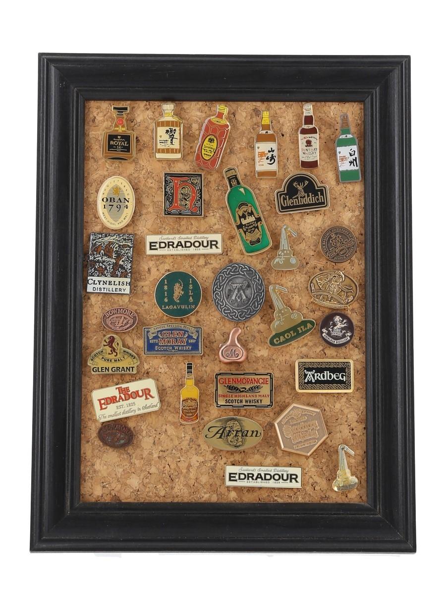 Assorted Whisky Badges Including Ardbeg, Bowmore, Clynelish, Highland Park, Lagavulin & Suntory