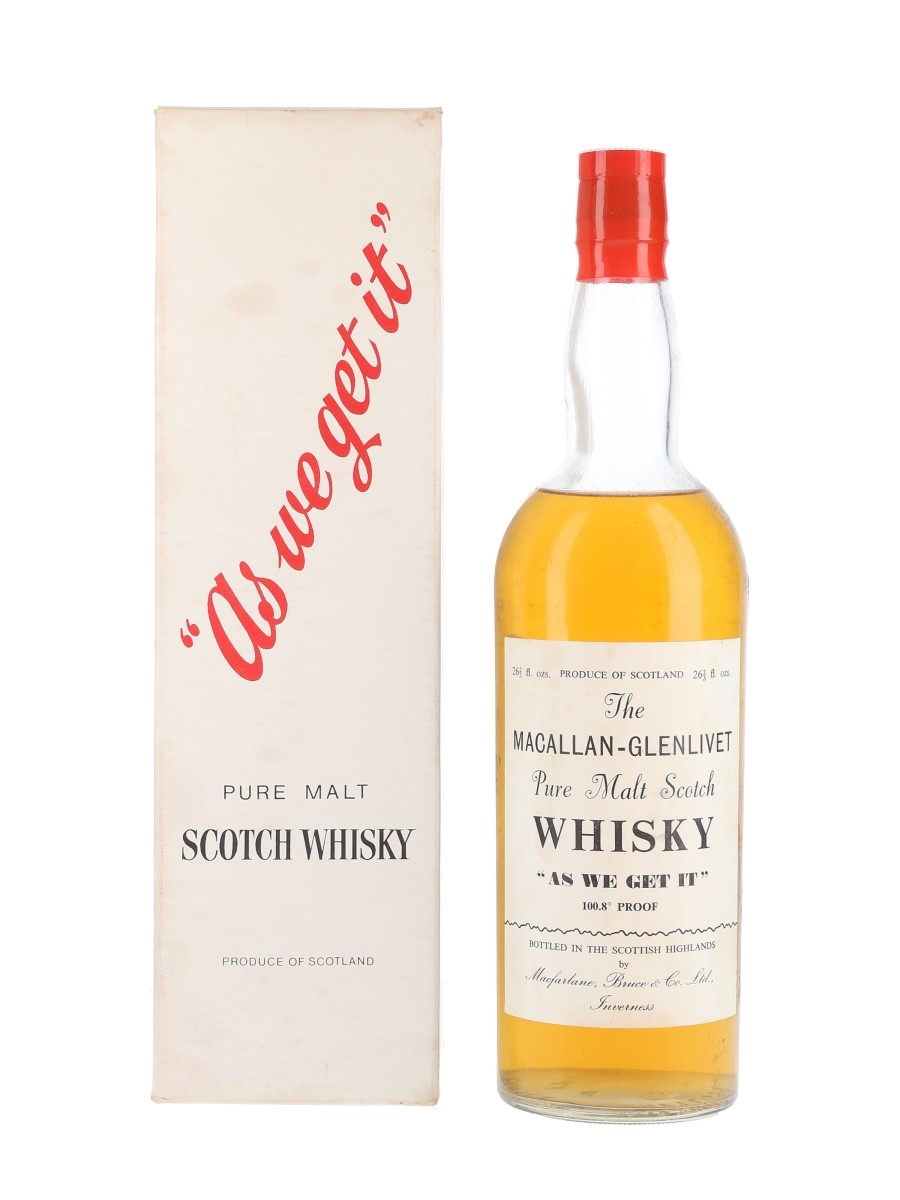 Macallan Glenlivet As We Get It Bottled 1960s-1970s - Macfarlane, Bruce & Co. Ltd. 75.7cl / 57.6%