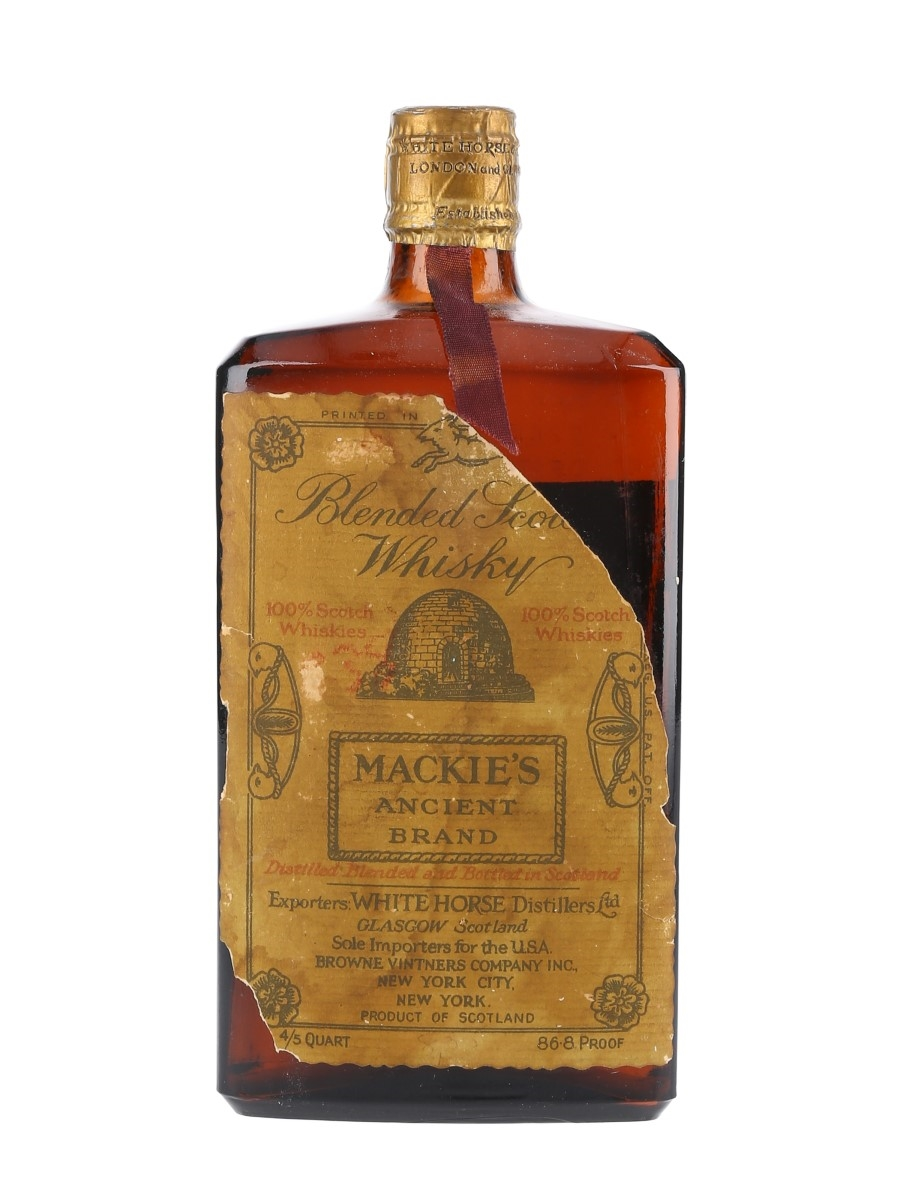 Mackie's Ancient Brand Spring Cap Bottled 1940s-1950s - White Horse Distillers 75.7cl / 43.4%