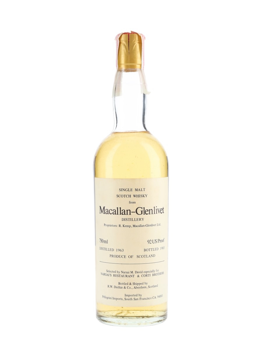 Macallan Glenlivet 1963 Bottled 1983 - Narsai's Restaurant & Corti Brothers - Signed Bottle 75cl / 46%