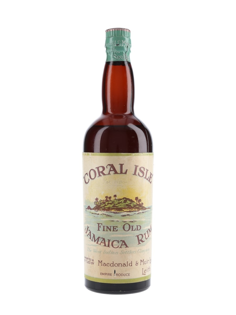 Coral Isle Fine Old Jamaica Rum Bottled 1930s-1940s - Macdonald & Muir Ltd. 75cl