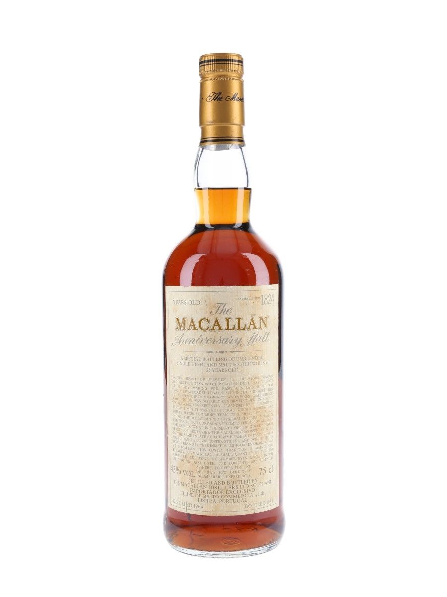 Macallan 1964 25 Year Old Anniversary Malt Bottled 1989 - Filipe De Brito Commercial 75cl / 43%