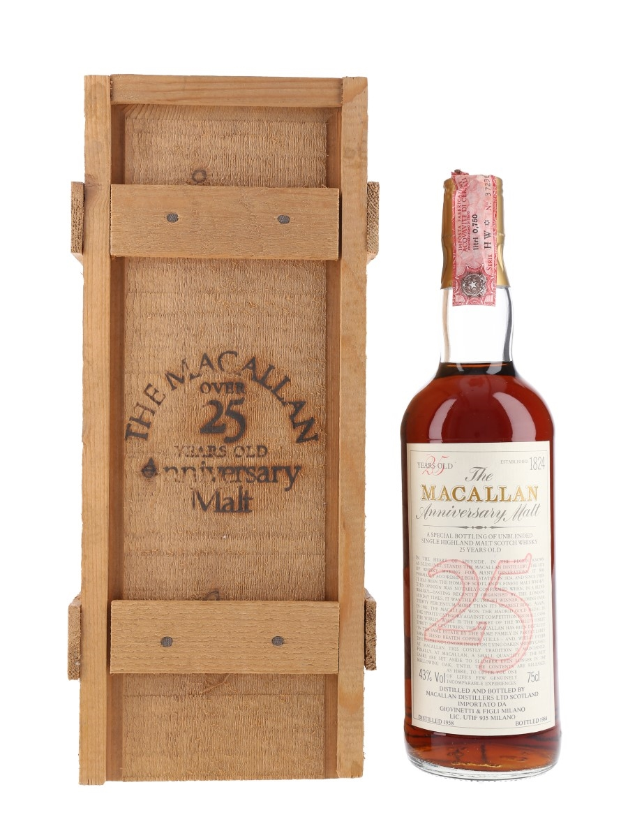 Macallan 1958 25 Year Old Anniversary Malt Bottled 1984 - Giovinetti 75cl / 43%