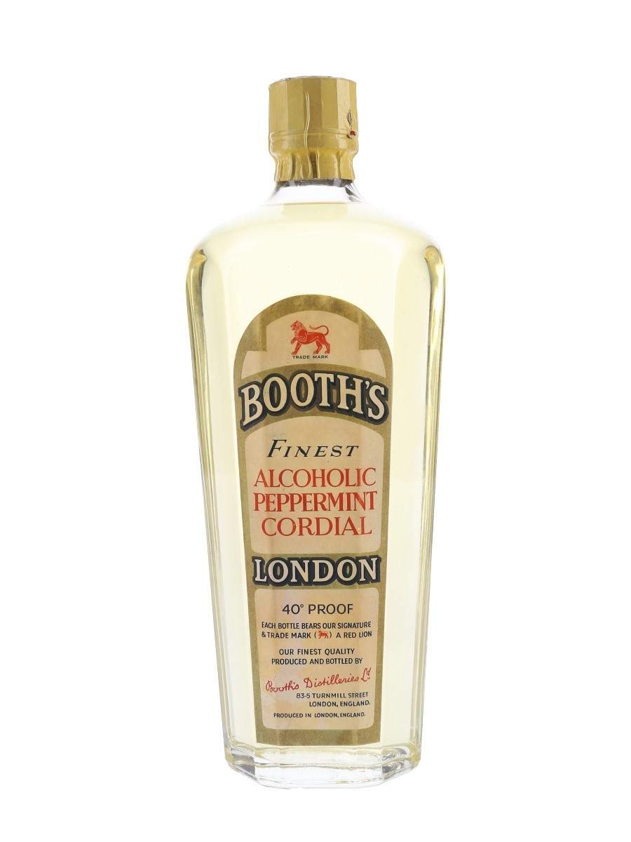 Booth's Finest Alcoholic Peppermint Cordial Bottled 1960s 75cl / 22.8%