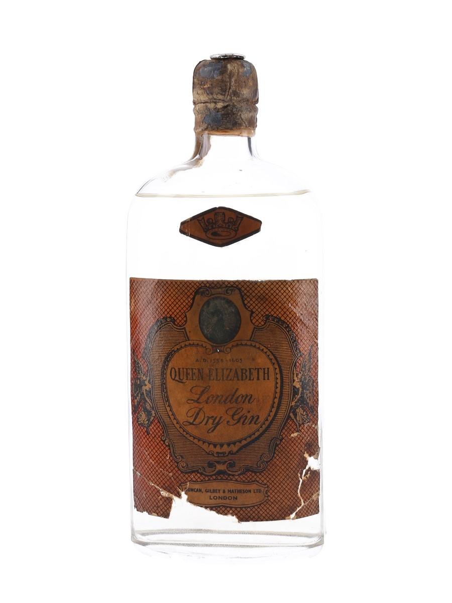 Queen Elizabeth London Dry Gin Bottled 1950s 75cl