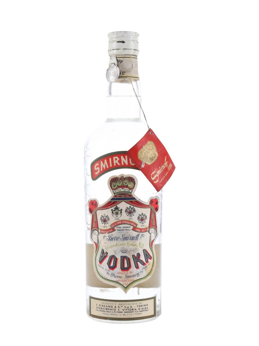 Smirnoff Red Label Bottled 1950s - Cinzano 75cl / 40%