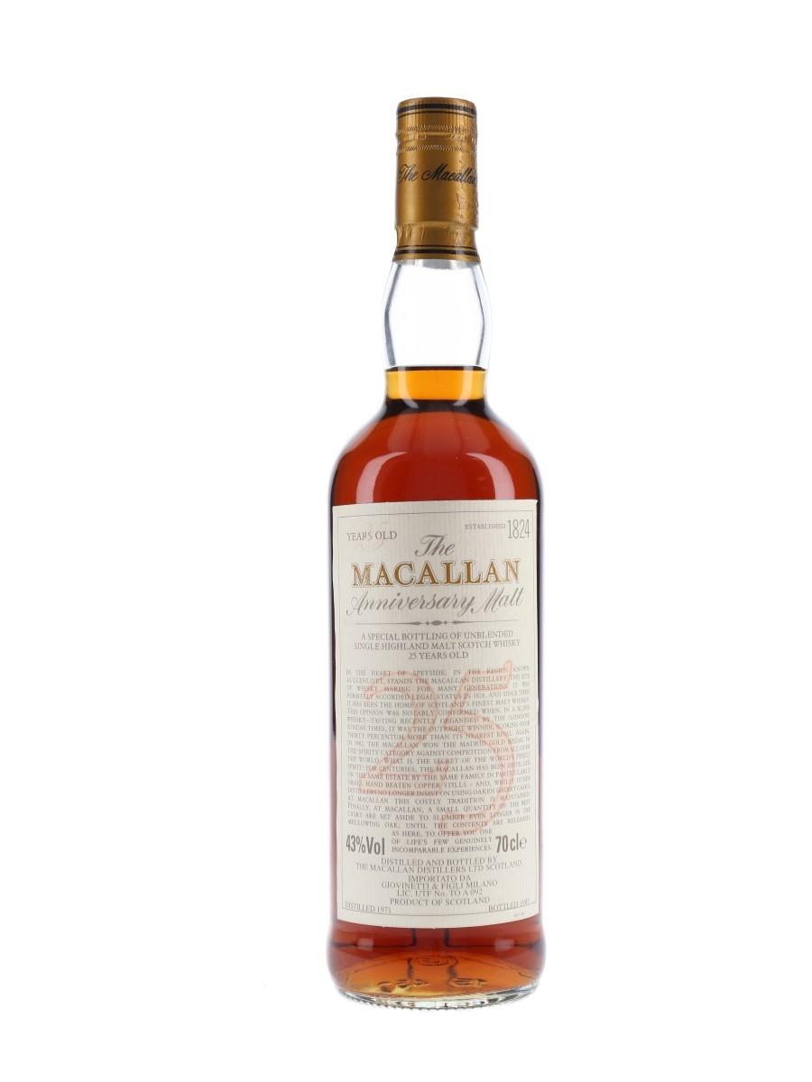 Macallan 1971 25 Year Old Anniversary Malt Bottled 1997 - Giovinetti 70cl / 43%