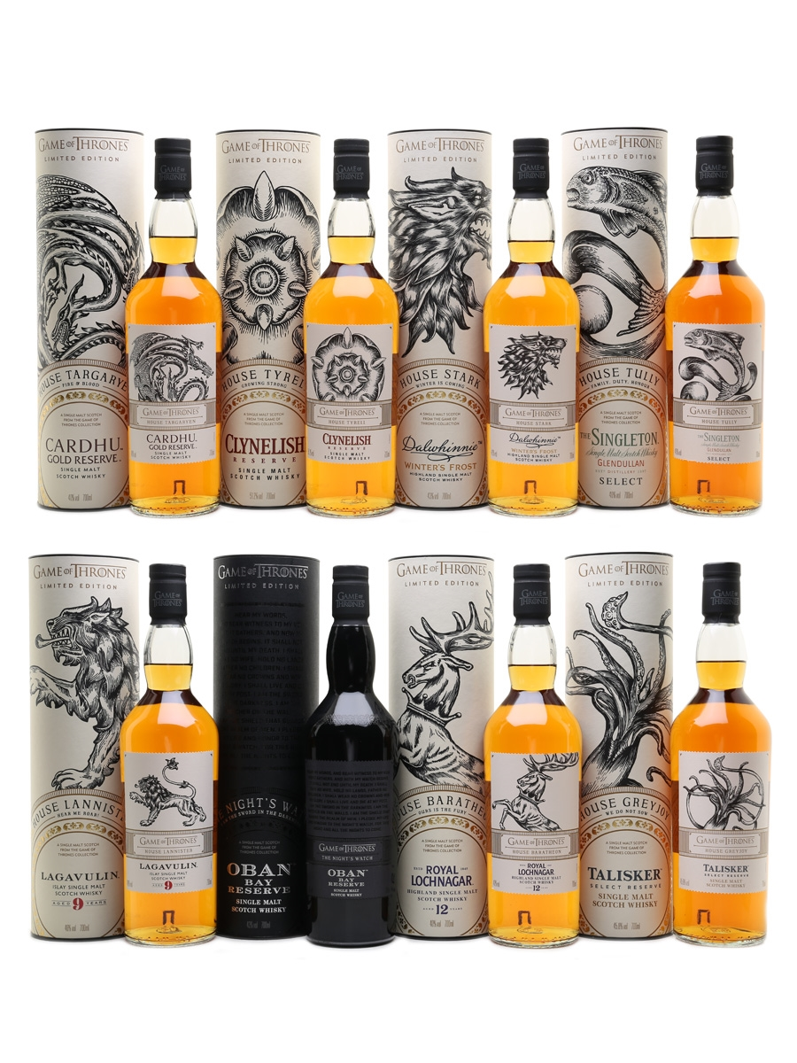 Game Of Thrones Whiskies Set Talisker, Royal Lochnagar, Oban, Lagavulin, Singleton Glendullan, Clynelish, Cardhu & Dalwhinnie 8 x 70cl