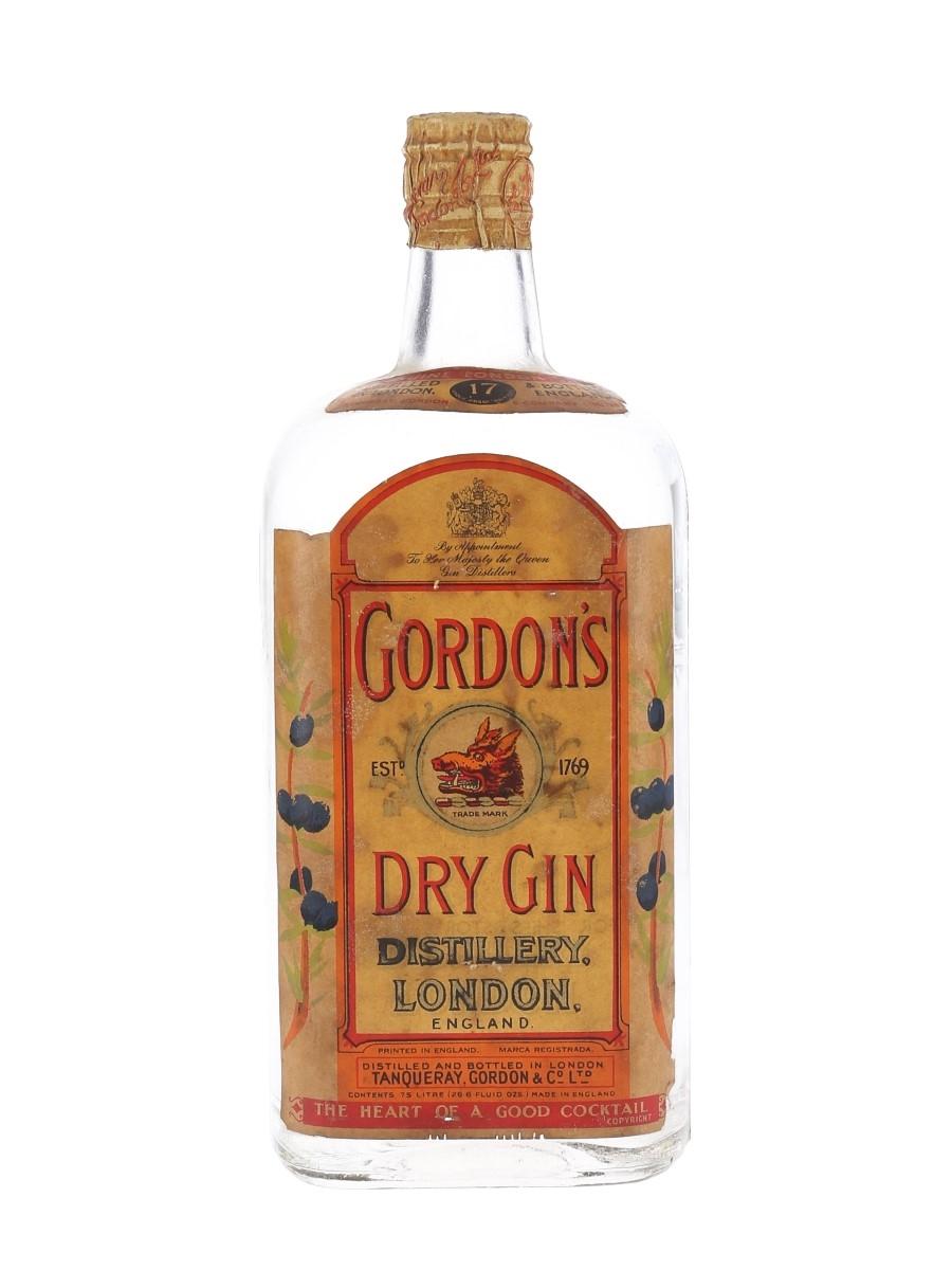 Gordon's Dry Gin Spring Cap Bottled 1950s 75cl / 47.3%