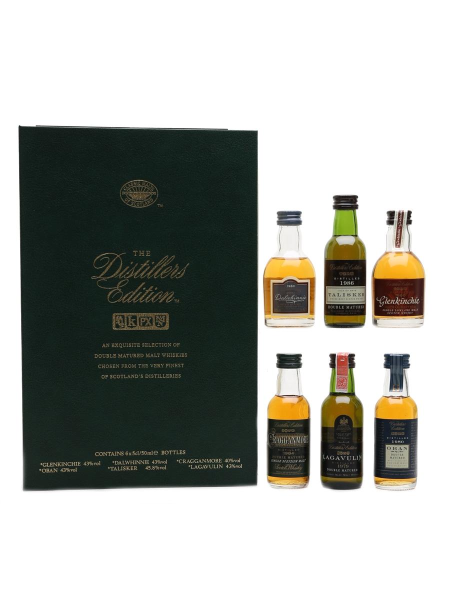 Classic Malts Distillers Edition Set Dalwhinnie 1980, Talisker 1986, Glenkinchie 1986, Cragganmore 1984, Lagavulin 1979, Oban 1980 6 x 5cl