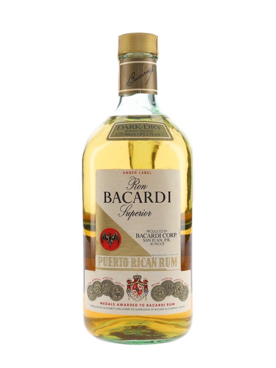 Bacardi Dark Dry Amber Label Bottled 1980s - Large Format 175cl / 40%