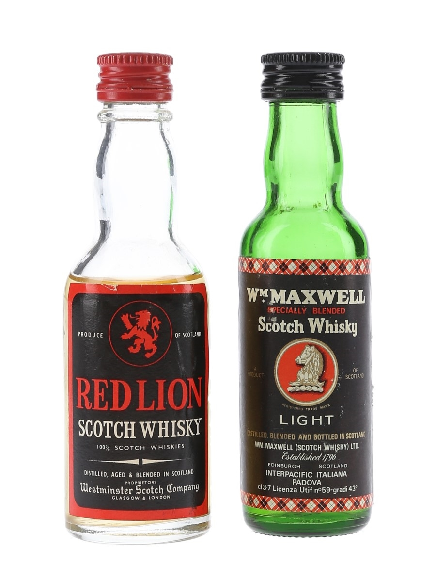 Red Lion & WM Maxwell Light Bottled 1970s 3.7cl & 5cl / 43%