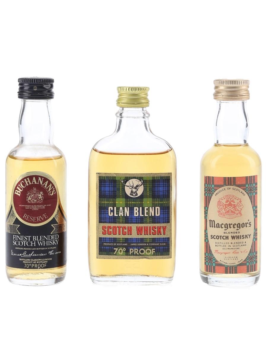 Buchanan's, Clan Blend & Macgregor's Bottled 1970s 3 x 5cl