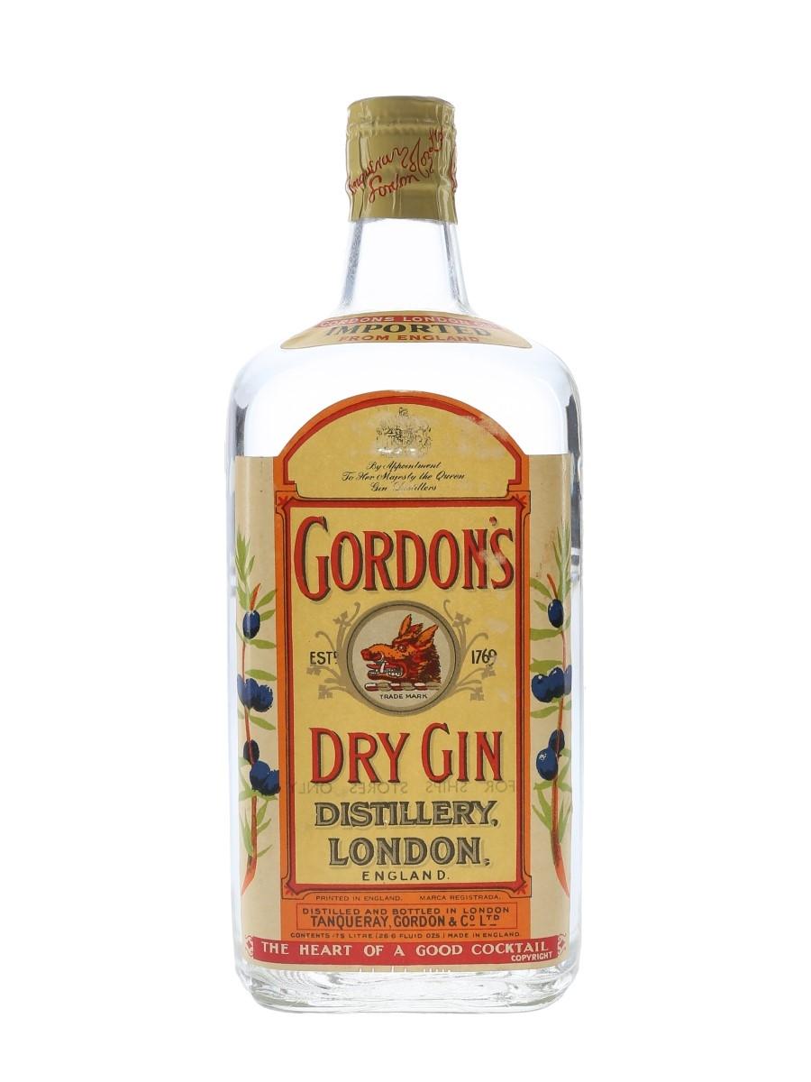 Gordon's Dry Gin Spring Cap Bottled 1950s - Ships Stores 75cl