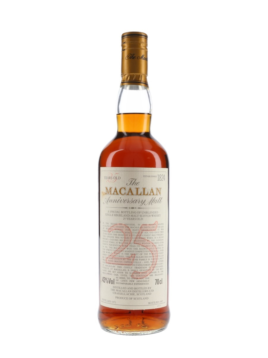 Macallan 1971 25 Year Old Anniversary Malt Bottled 1997 70cl / 43%