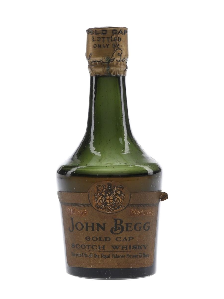 John Begg Gold Cap Bottled 1920s-1930s 5cl
