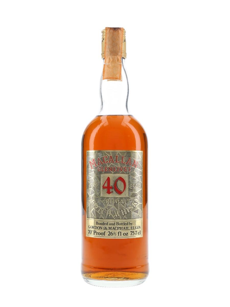 Macallan Glenlivet 40 Year Old Bottled 1970s - Gordon & MacPhail 75.7cl / 40%