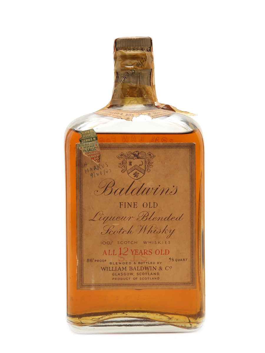 Baldwin's 12 Years Old Bottled 1940s 75cl / 43%