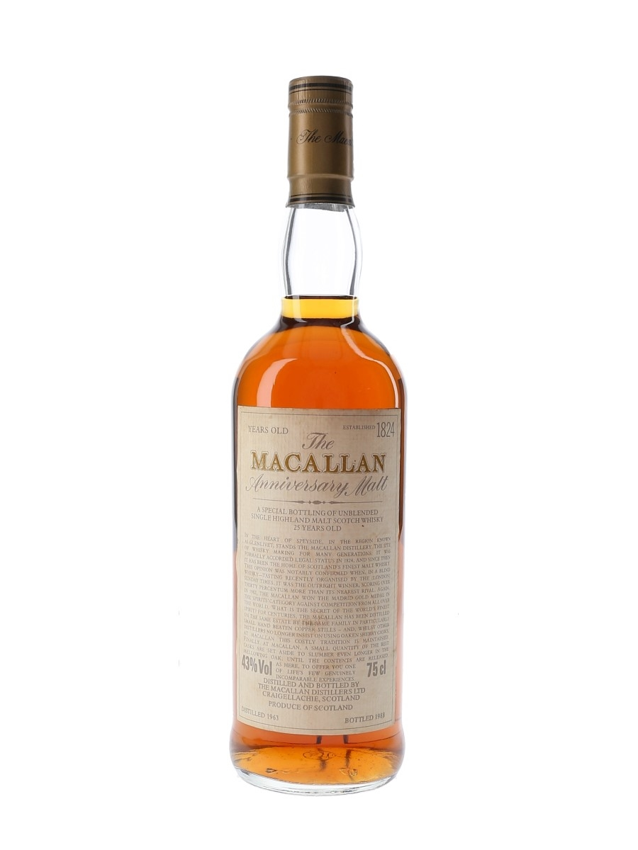 Macallan 1963 25 Year Old Anniversary Malt Bottled 1988 75cl / 43%