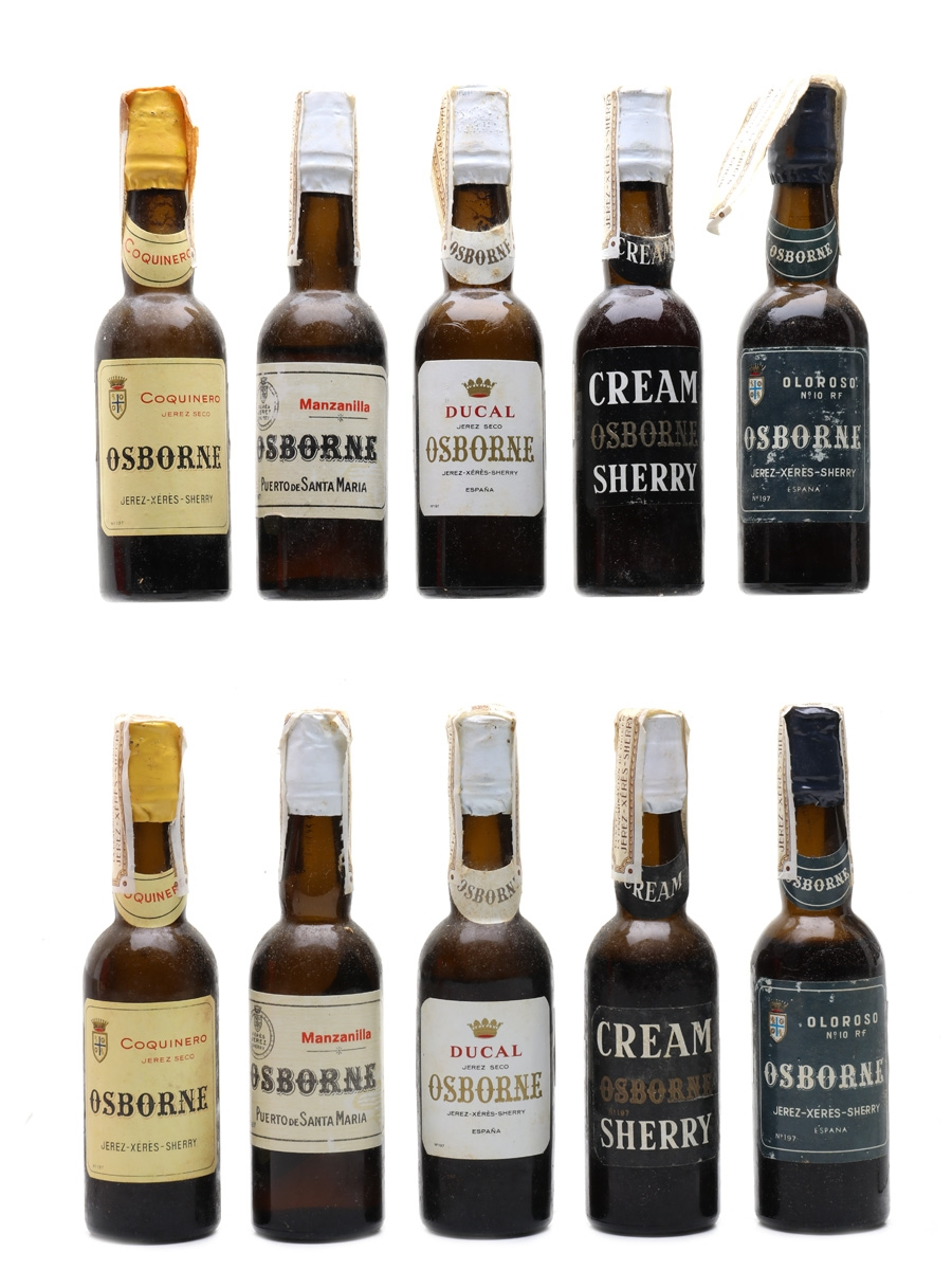 Osborne Sherry Collection Bottled 1960s - Silver 10 x 4.5cl
