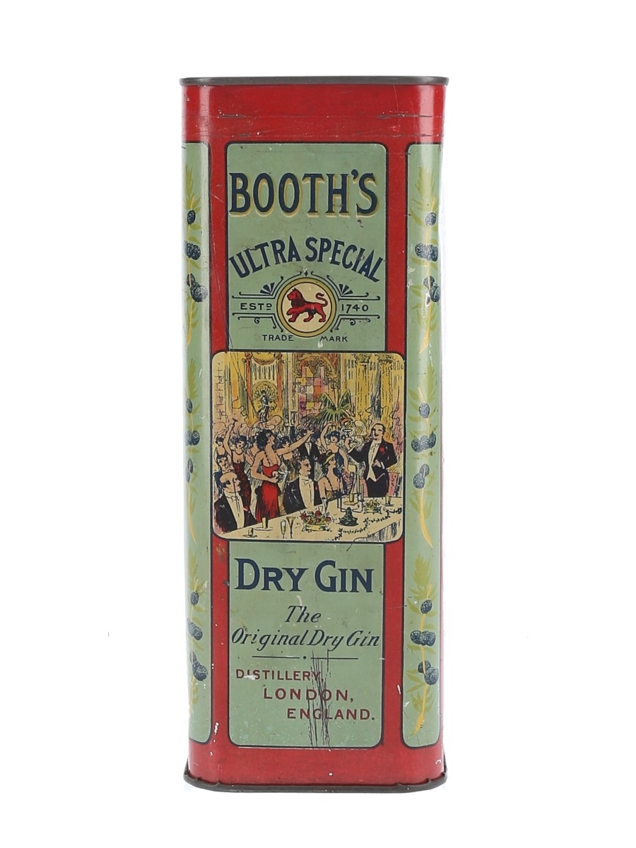 Booth's Ultra Special Dry Gin Bottled 1920s-1930s - Sealed Tin 75cl