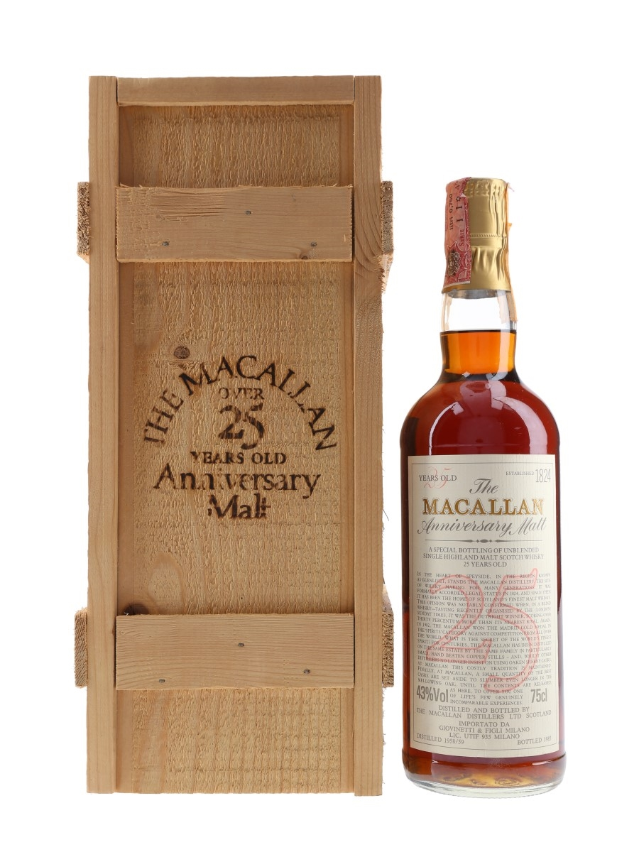 Macallan 1958-1959 25 Year Old Anniversary Malt Bottled 1985 - Giovinetti 75cl / 43%
