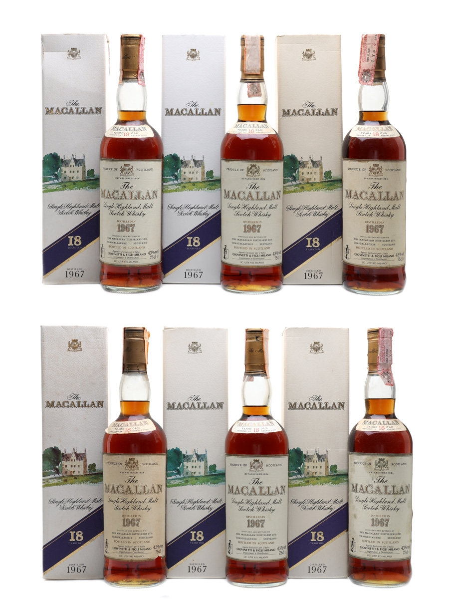 Macallan 1967 18 Year Old Giovinetti 6 x 75cl / 43%