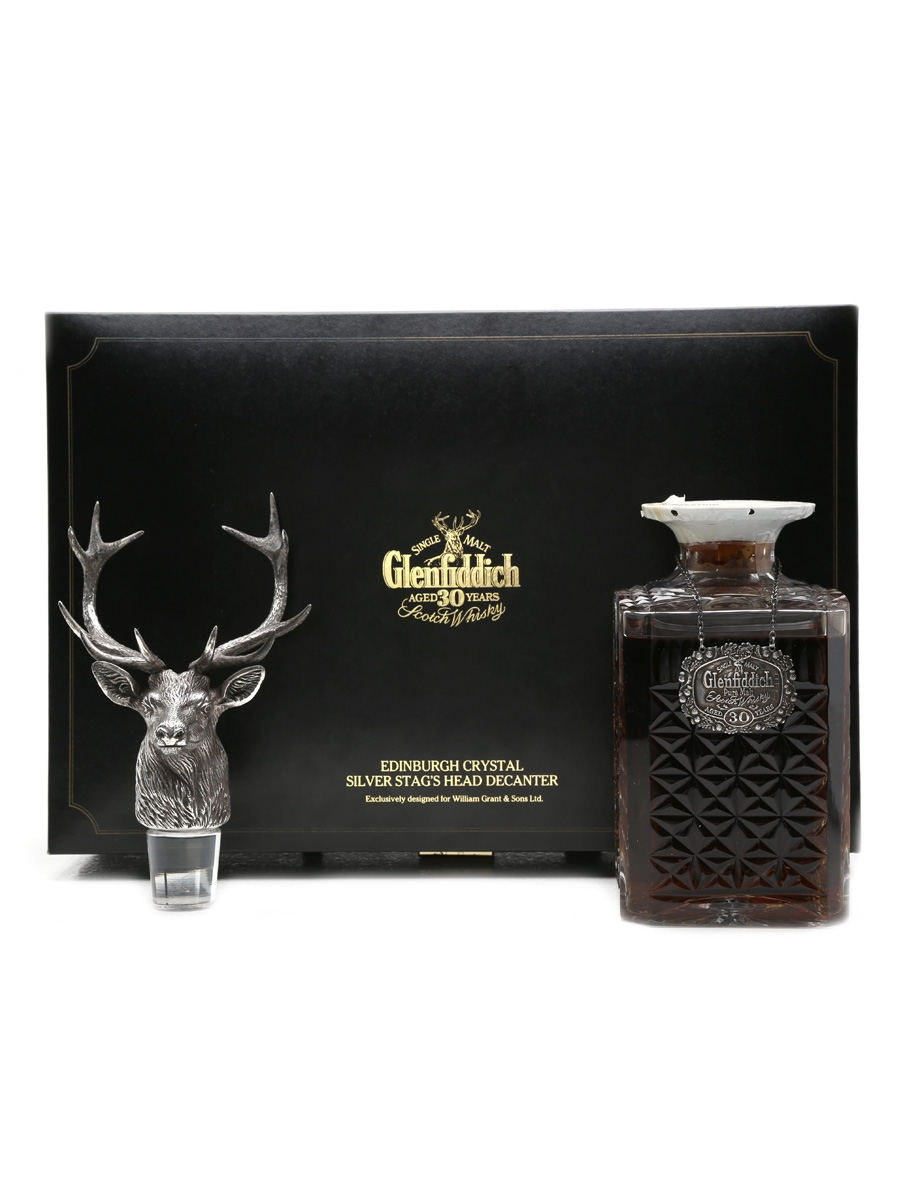 Glenfiddich 30 Years Old Crystal Decanter & Silver Stag Head 75cl