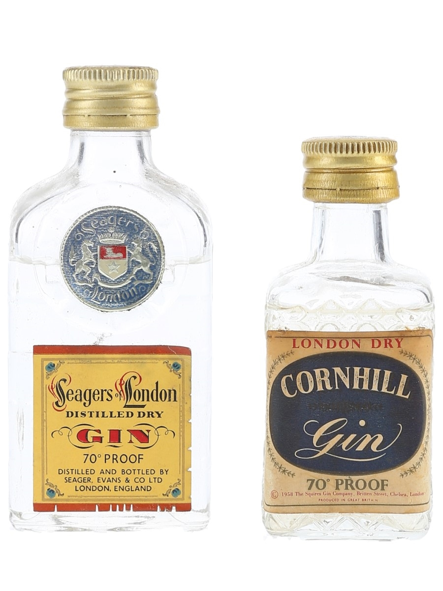 Cornhill & Seagers Gin Bottled 1970s 2 x 5cl / 40%