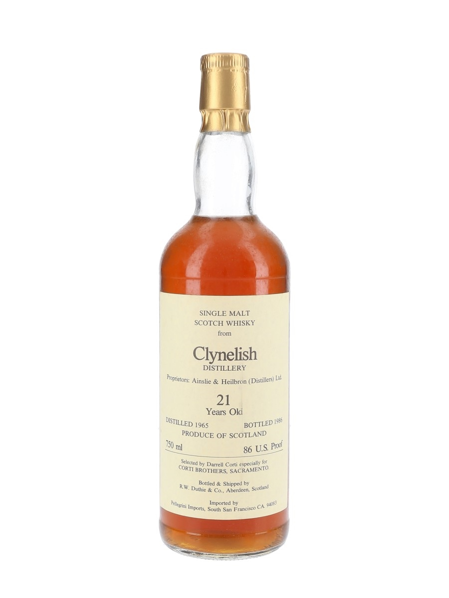 Clynelish 1965 21 Year Old Bottled 1986 - Corti Brothers - Signed Bottle 75cl / 43%