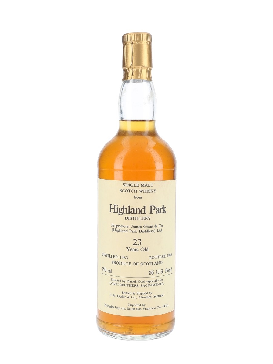 Highland Park 1963 23 Year Old Bottled 1986 - Corti Brothers - Signed Bottle 75cl / 43%