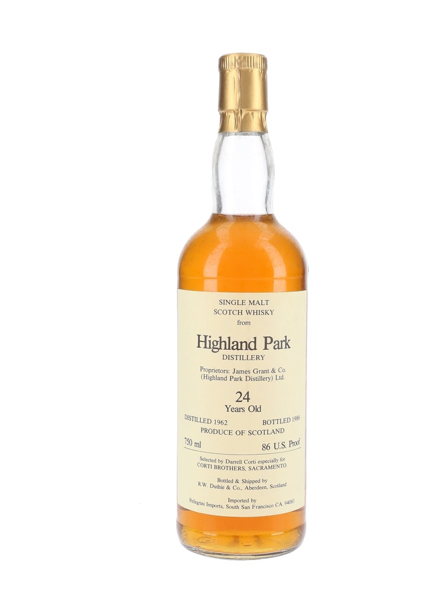 Highland Park 1962 24 Year Old Bottled 1986 - Corti Brothers 75cl / 43%