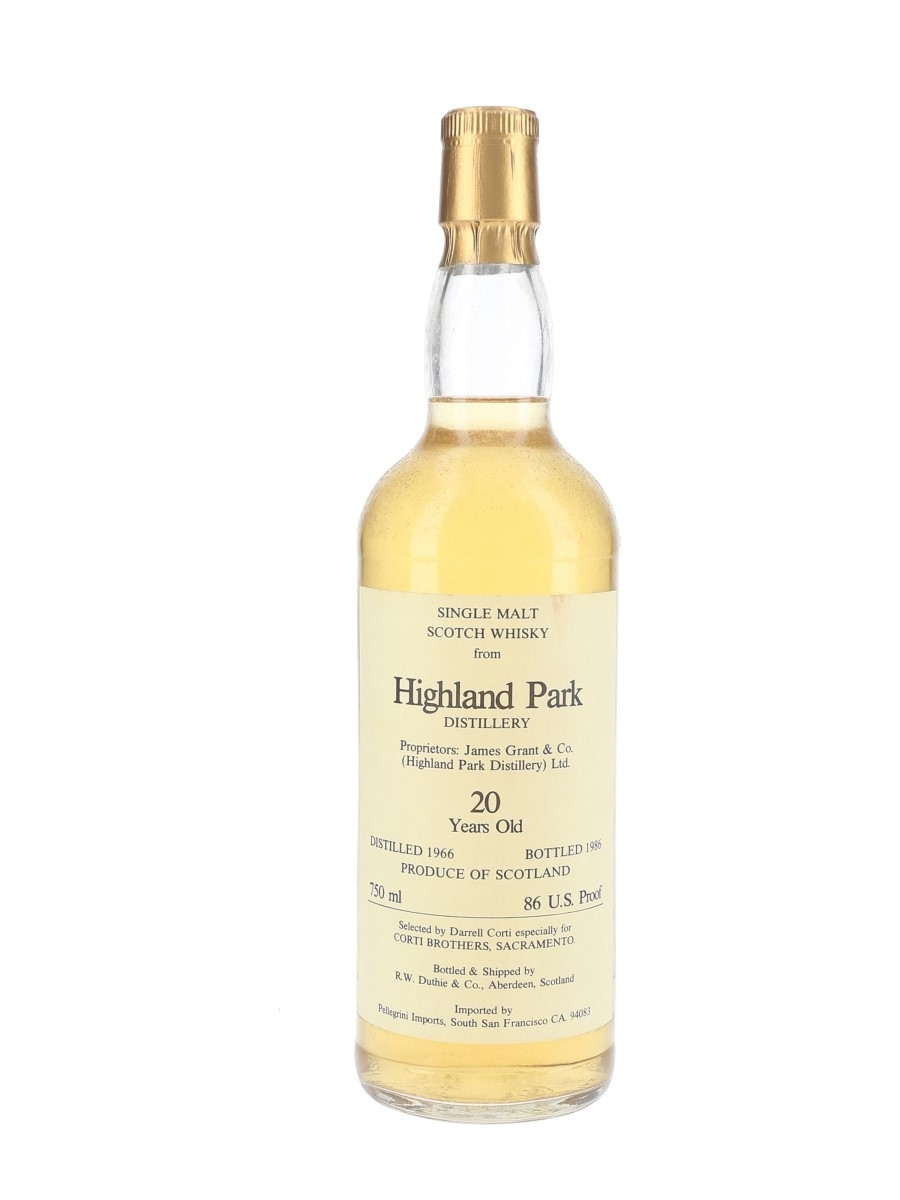 Highland Park 1966 20 Year Old Bottled 1986 - Corti Brothers 75cl / 43%