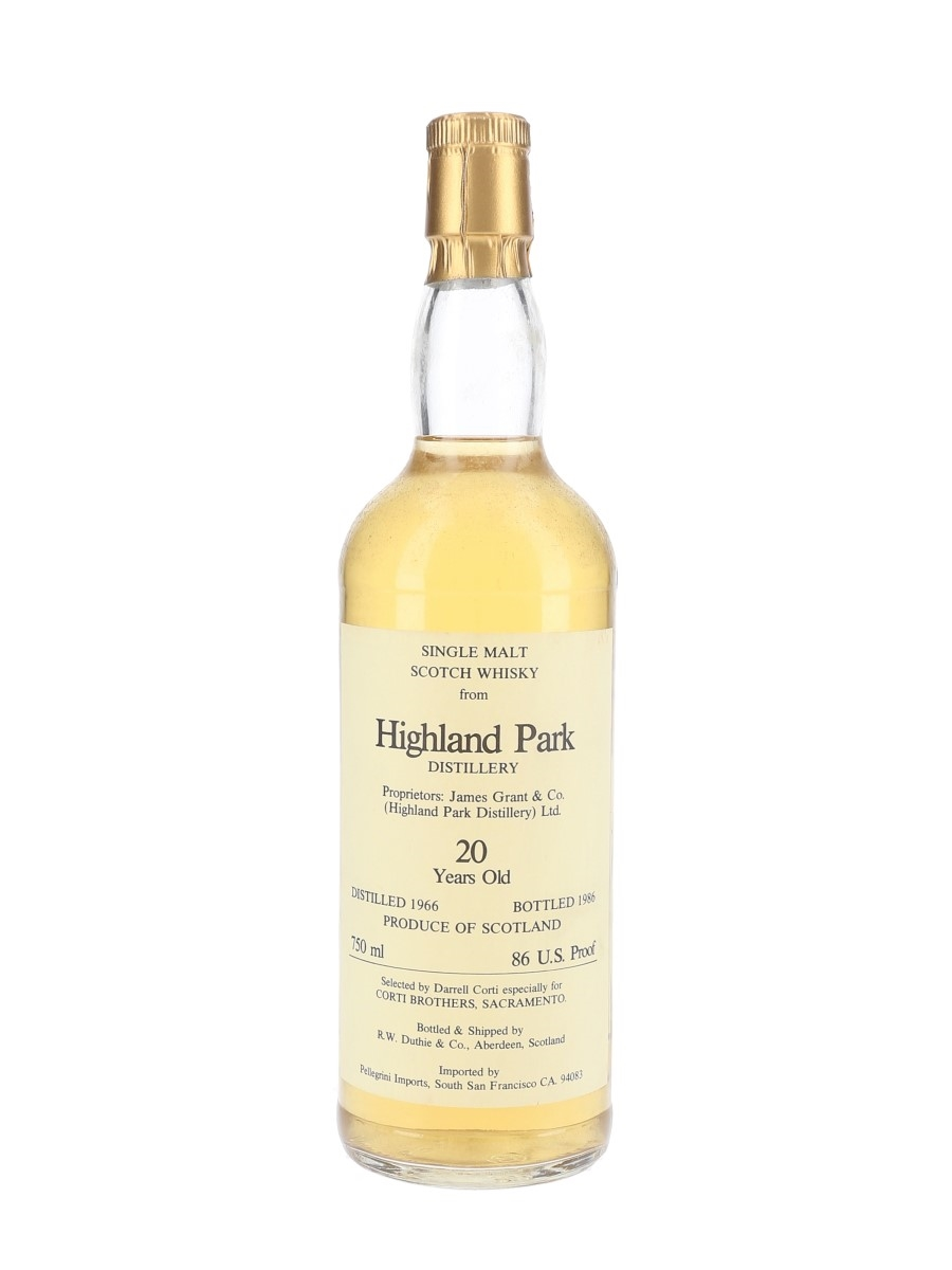 Highland Park 1966 20 Year Old Bottled 1986 - Corti Brothers - Signed Bottle 75cl / 43%