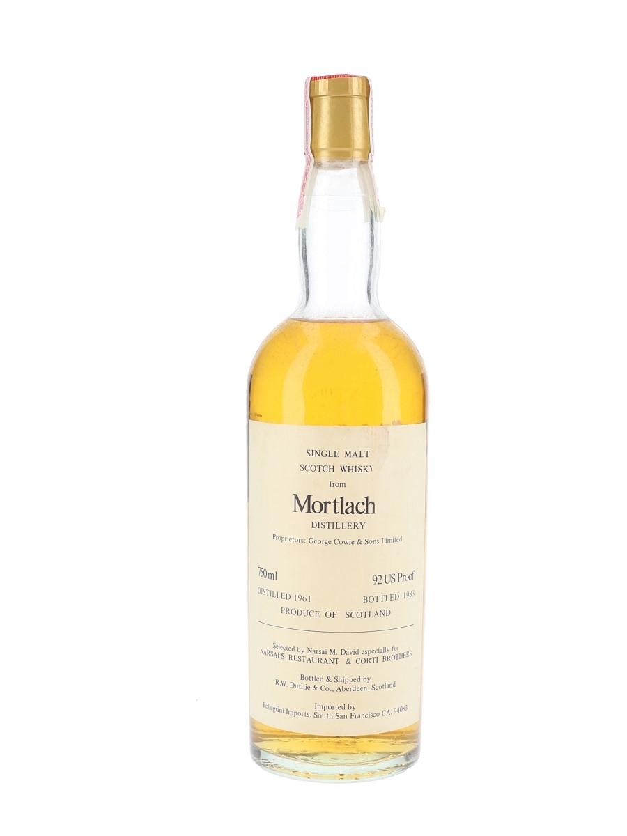 Mortlach 1961 Bottled 1983 - Narsai's Restaurant & Corti Brothers - Signed Bottle 75cl / 46%