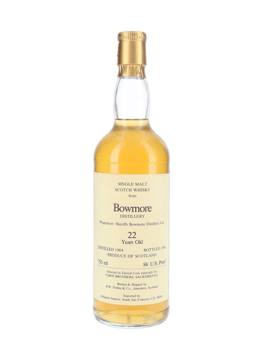 Bowmore 1964 22 Year Old Bottled 1986 - Corti Brothers - Signed Bottle 75cl / 43%