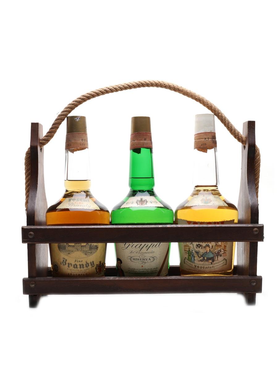 Toschi Brandy, Grappa & Susetta Confezioni Legno Bottled 1960s-1970s 3 x 75cl