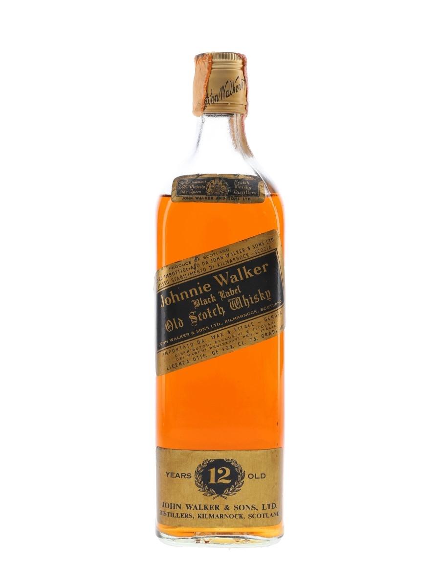 Johnnie Walker Black Label 12 Year Old Bottled 1980s - Wax & Vitale 75cl / 40%