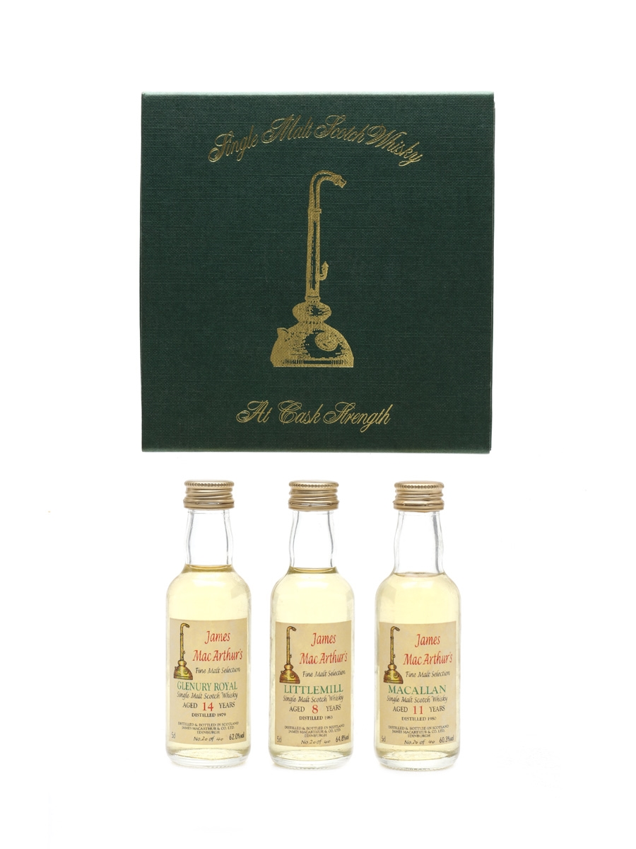 Glenury Royal 1979, Littlemill 1983 & Macallan 1980 James MacArthur's Fine Malt Selection 3 x 5cl